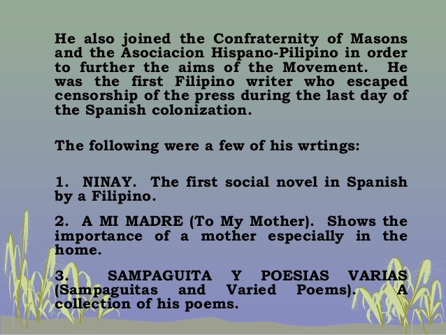"""sampaguita y poesias varias by pedro paterno Propaganda period was a period of philippine history and literature when the """"ilustrados  pedro paterno he is a scholar, dramatist, researcher and novelist  sampaguita y poesias varias (sampaguitas and varied poems) – a collection of his poems jose maria panganiban."""