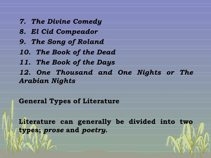 general types of literature