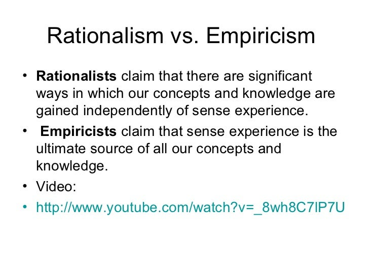 education empiricists vs rationalists essay Free essay: the importance of experience in education has always been the subject of philosophical debates these debates between empiricists and.