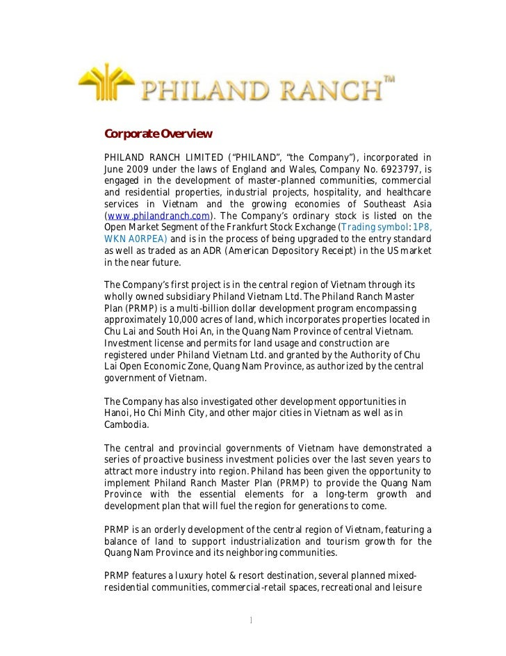 """Corporate OverviewPHILAND RANCH LIMITED (""""PHILAND"""", """"the Company""""), incorporated inJune 2009 under the laws of England and..."""