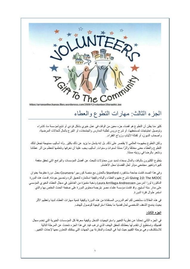 ١ الثالث الجزء:والعطاء التطوع مھارات الوقت من معين جزء قضاء ھو التطوع أن يظن منا كثيرفي...
