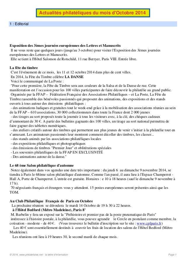 Actualités philatéliques du mois d'Octobre 2014  1 : Editorial  Exposition des 3èmes journées européennes des Lettres et M...