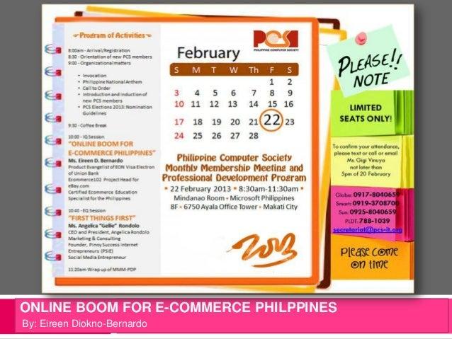 ONLINE BOOM FOR E-COMMERCE PHILPPINESBy: Eireen Diokno-Bernardo