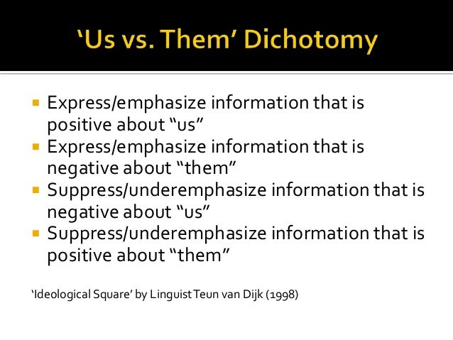 """ Express/emphasize information that is positive about """"us""""  Express/emphasize information that is negative about """"them"""" ..."""
