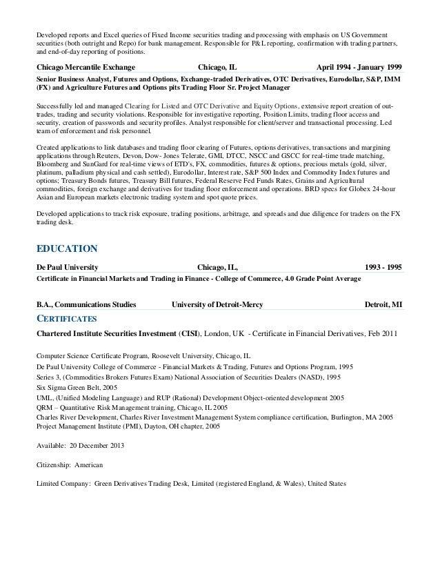 Stock Trader Resume - Contegri.com