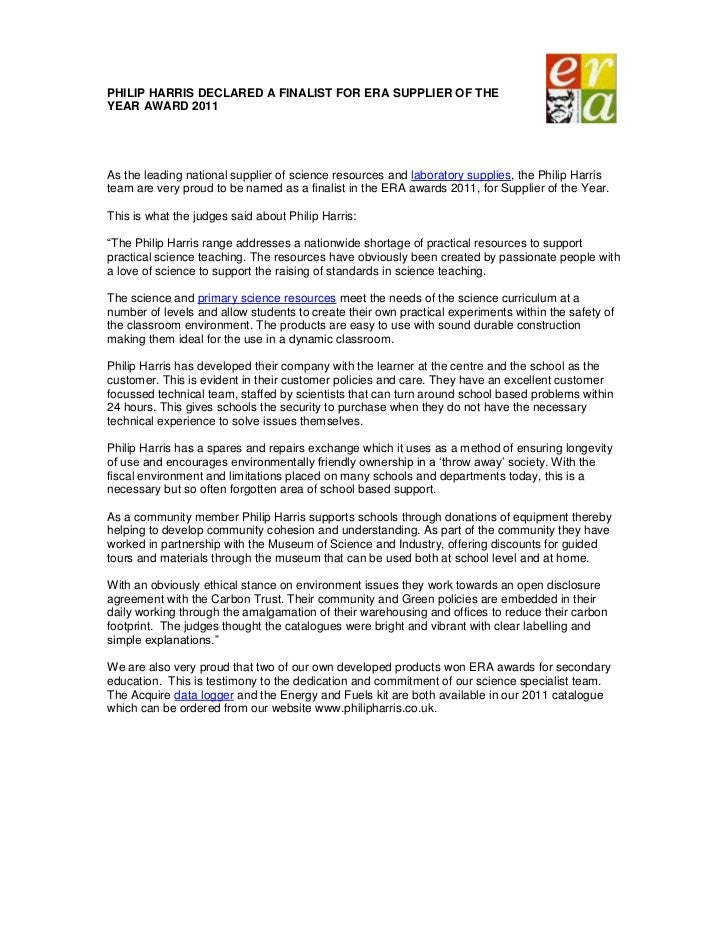 PHILIP HARRIS DECLARED A FINALIST FOR ERA SUPPLIER OF THEYEAR AWARD 2011As the leading national supplier of science resour...