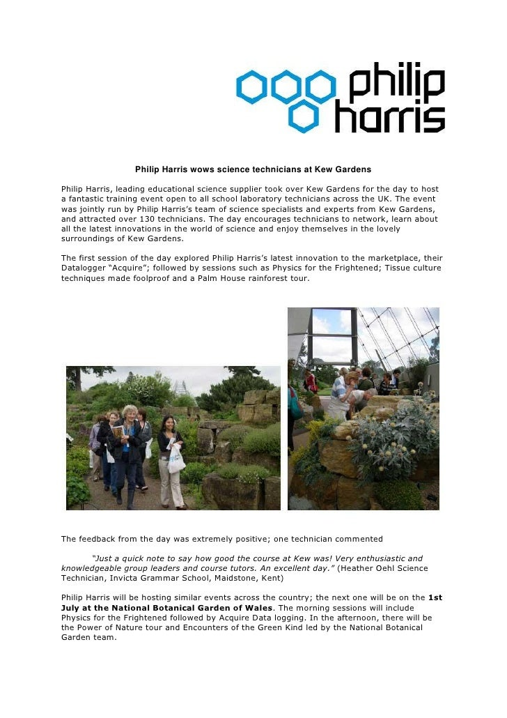 Philip Harris wows science technicians at Kew Gardens  Philip Harris, leading educational science supplier took over Kew G...