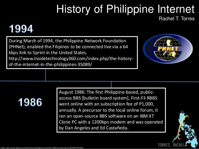 History of Philippine Internet  Rachel T. Torres  During March of 1994, the Philippine Network Foundation  (PHNet), enable...