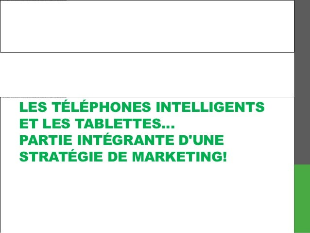 LES TÉLÉPHONES INTELLIGENTSET LES TABLETTES…PARTIE INTÉGRANTE DUNESTRATÉGIE DE MARKETING!