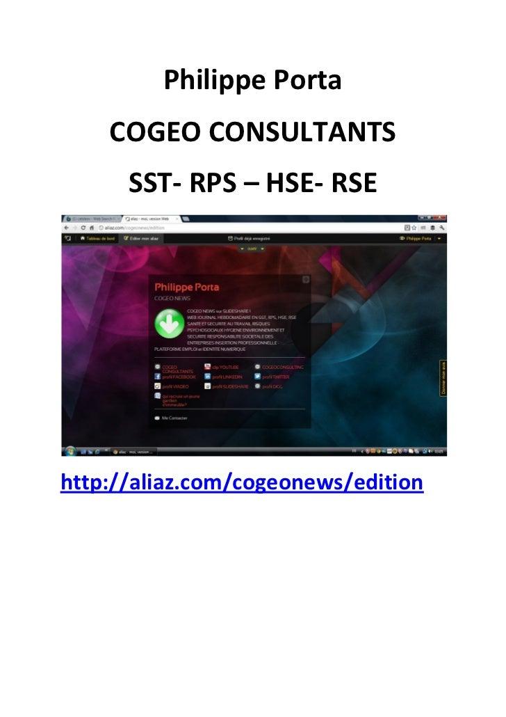 Philippe Porta    COGEO CONSULTANTS      SST- RPS – HSE- RSEhttp://aliaz.com/cogeonews/edition