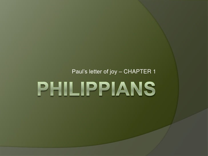 Paul's letter of joy – CHAPTER 1