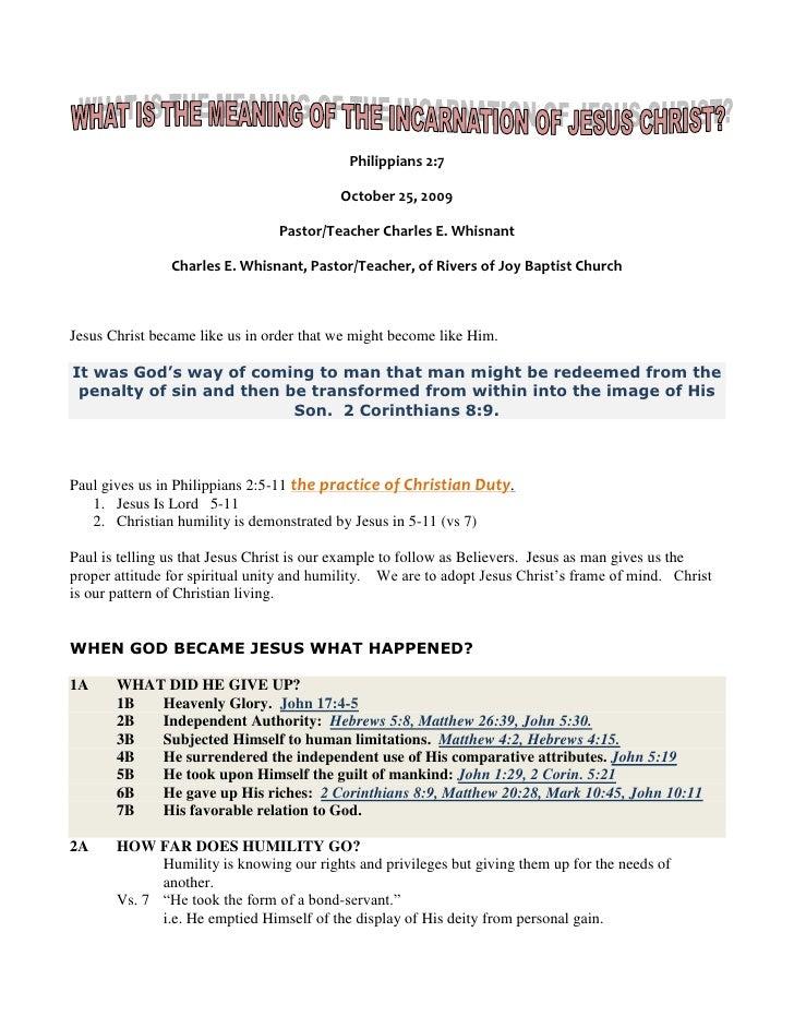 Philippians 2:7<br />October 25, 2009<br />Pastor/Teacher Charles E. Whisnant<br />Charles E. Whisnant, Pastor/Teacher, of...