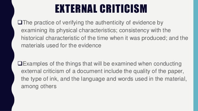 why is external criticism important when analyzing data