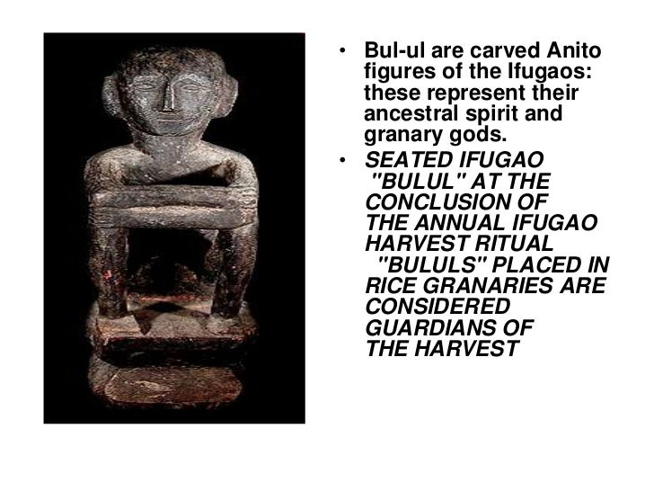 Bul-ul are carved Anito figures of the Ifugaos: these represent their ancestral spirit and granary gods.<br />SEATED IFUGA...