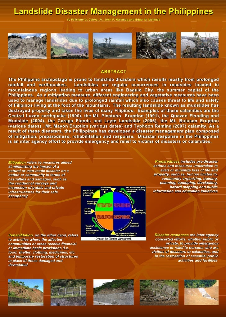 Landslide Disaster Management in the Philippines by Feliciano G. Calora, Jr., John F. Malamug and Edgar M. Molintas ABSTRA...