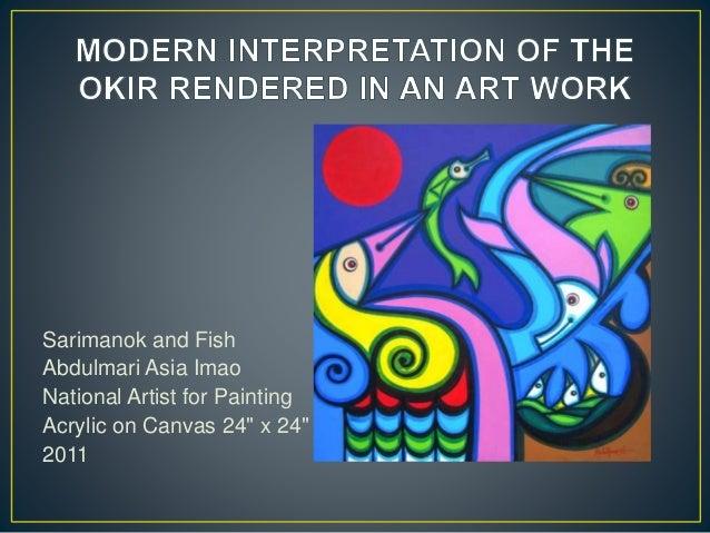 "Sarimanok and Fish Abdulmari Asia Imao National Artist for Painting Acrylic on Canvas 24"" x 24"" 2011"