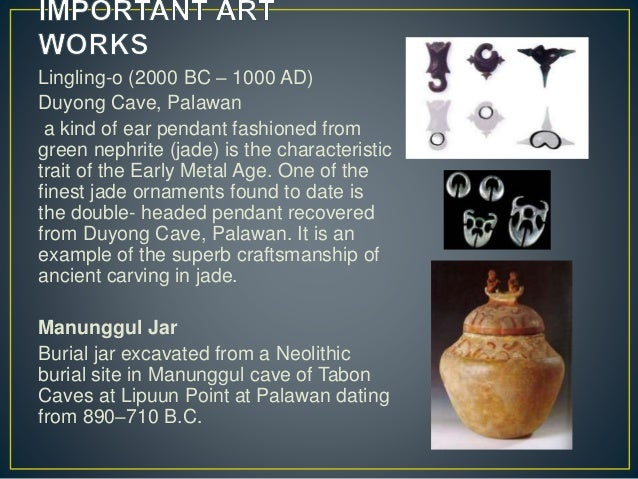 Lingling-o (2000 BC – 1000 AD) Duyong Cave, Palawan a kind of ear pendant fashioned from green nephrite (jade) is the char...