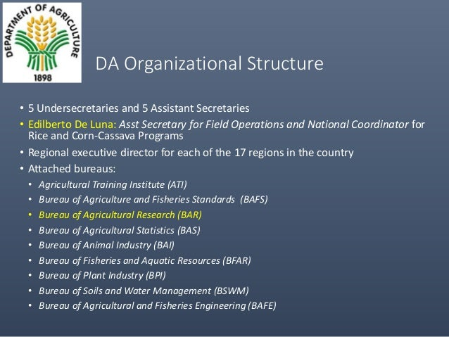 The Philippine Department Of Agriculture And Its Cassava
