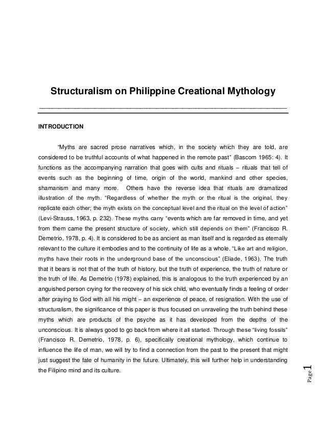 Structuralism on Philippine Creational Mythology _________________________________________________________________________...