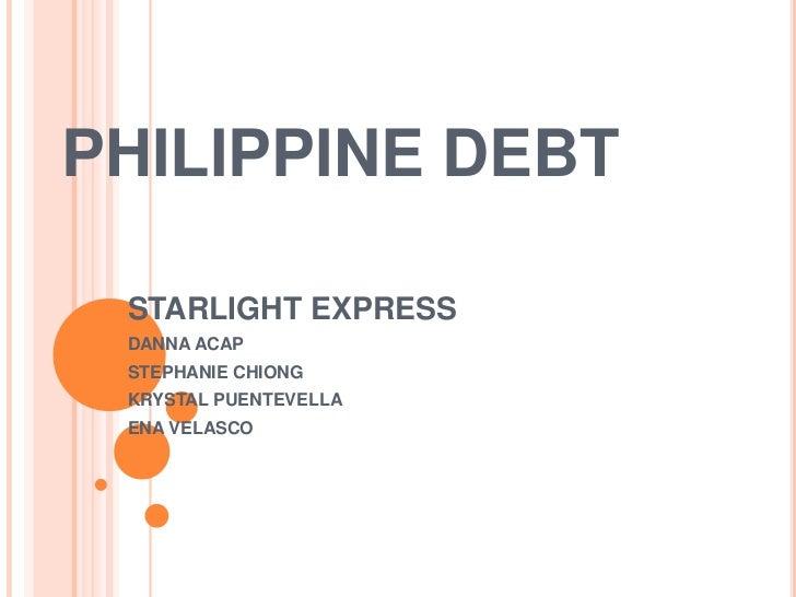 PHILIPPINE DEBT STARLIGHT EXPRESS DANNA ACAP STEPHANIE CHIONG KRYSTAL PUENTEVELLA ENA VELASCO
