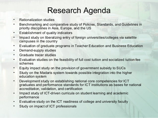 Philippine education presentation – Research Agenda Sample