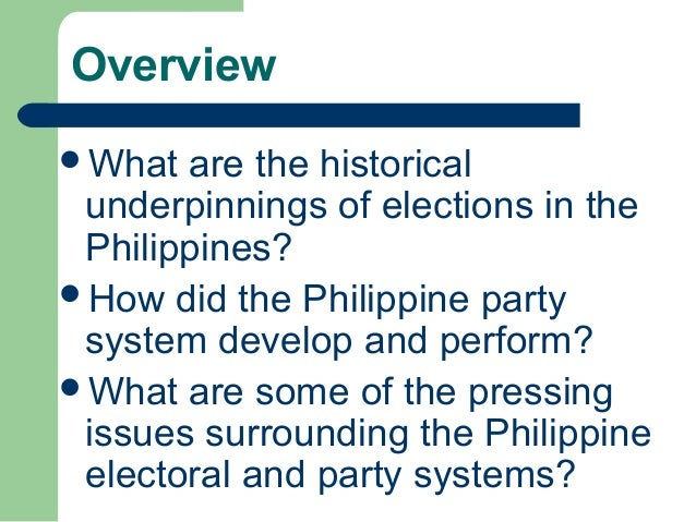 Analysis of the philippine party system
