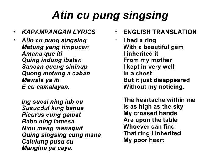 Singsing notes atin with cu lyrics pung Atin Cu