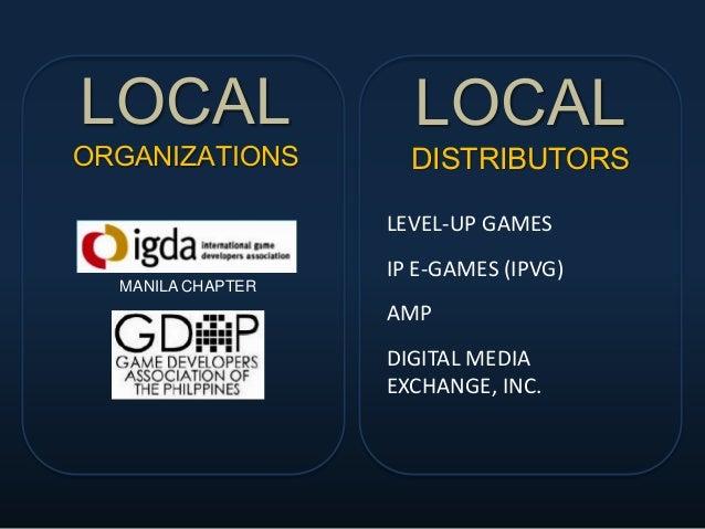 LOCAL ORGANIZATIONS MANILA CHAPTER LOCAL DISTRIBUTORS LEVEL-UP GAMES IP E-GAMES (IPVG) AMP DIGITAL MEDIA EXCHANGE, INC.