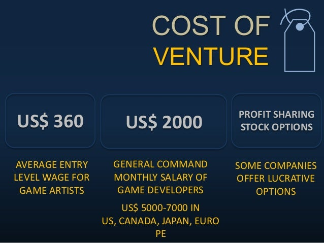 COST OF VENTURE  US$ 2000US$ 360 PROFIT SHARING STOCK OPTIONS AVERAGE ENTRY LEVEL WAGE FOR GAME ARTISTS GENERAL COMMAND M...