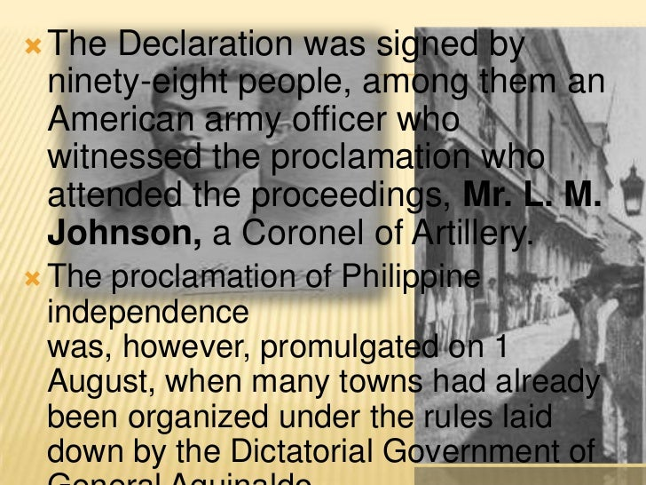 declaration of philippine independence The philippines gained independence on july 4,1946, due to the signing of the treaty of manila with the united states, who had annexed the philippines as a territory in 1898 while at first the us intended for the philippines to be a colonial property, conflicts in the philippines caused the us.