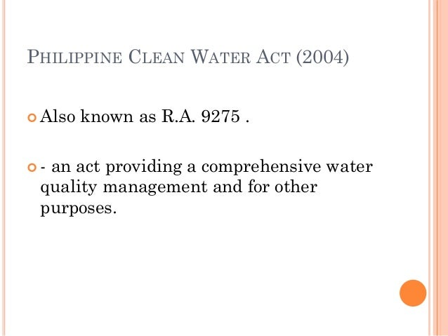 clean water act philippines pdf