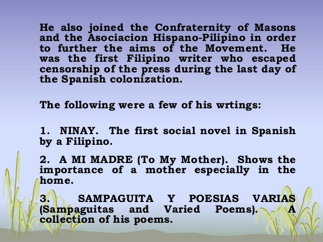 sampaguita y poesias by pedro paterno On february 27, 1858, pedro alejando paterno, the so-called peacemaker of the revolution, was born in sta cruz, manila.