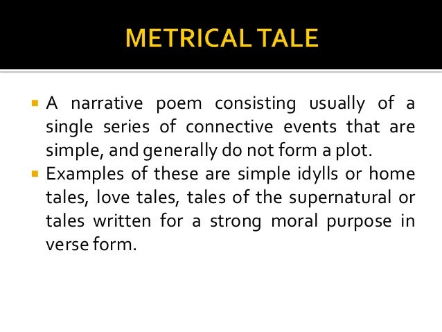 a long narrative poem about supernatural events is