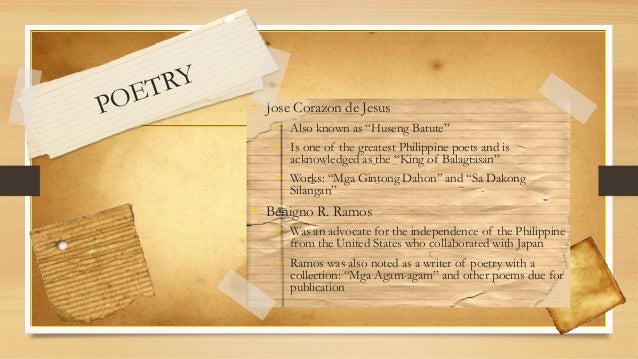 tagalog poems during spanish period Post-war poetry and fiction was during some of the darkest their influence can be felt in the short lyric and the medium-length meditative poem that are still.