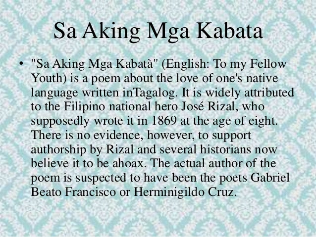 tagalog poems during spanish period Literature in this period may be classified as religious prose and poetry and secular prose and poetry religious lyrics written by ladino poets or those versed in both spanish and tagalog were included in early catechism and were used to teach filipinos the spanish language.