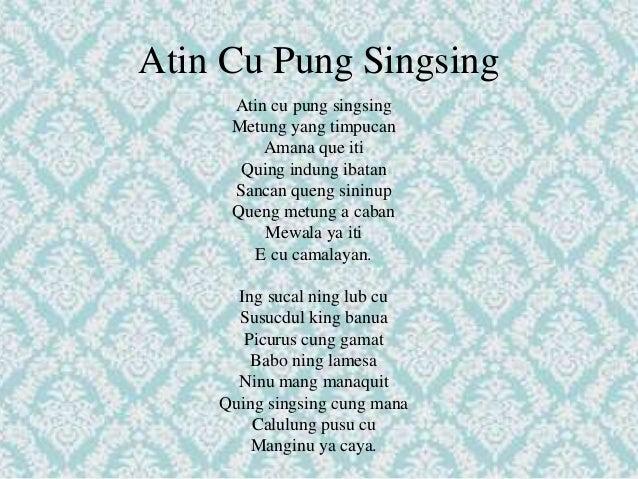Atin cu pung singsing historical background