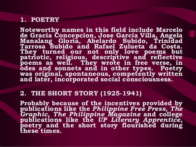 philippine literature period of self discovery and growth Philippine literature pre-spanish period  others define literature as a faithful  reproduction of man s manifold experiences blended into one harmonious  expression because  period of self-discovery and growth (1925-1941) by  this time.