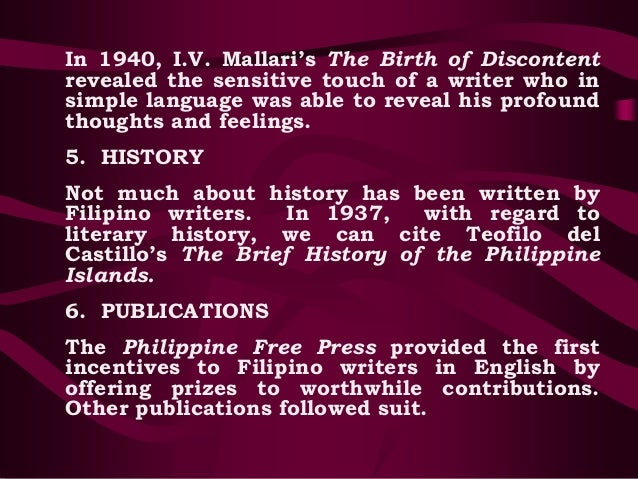 the birth of discontent by i v mallari The kapampangan surnames by dr rodrigo m sicat glossary of  august is the month of my birth date bucadcad v  v to fret, to show discontent.