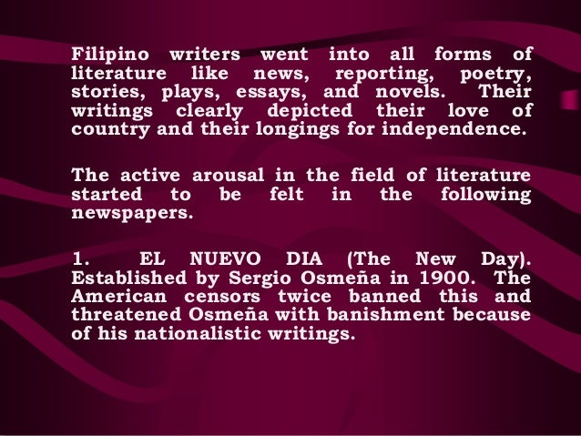 examples of early philippine literature Three periods in the literary history of the philippines pre colonialism the early literary forms of the philippines were philippine literature during.