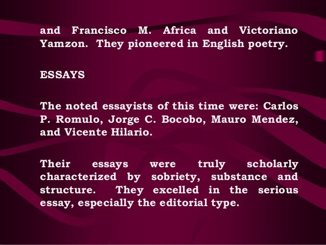 philippine literature in english essay