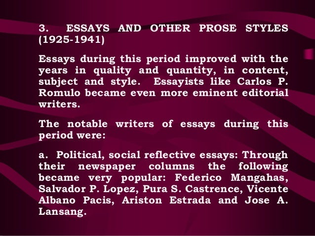 popular filipino essayists The filipino essays a typical filipino family is known for their close ties their relationship with each other is so close that they almost do not want to be apart.