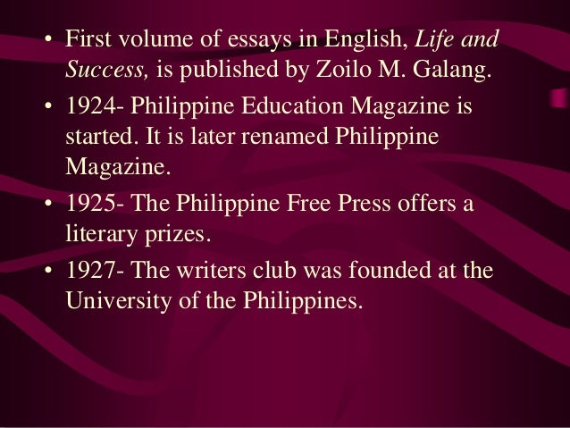 philippine literature in english essay The literature in english test contains questions on poetry, drama, biography,  the essay, the short story, the novel, criticism, literary theory, and the history of the .