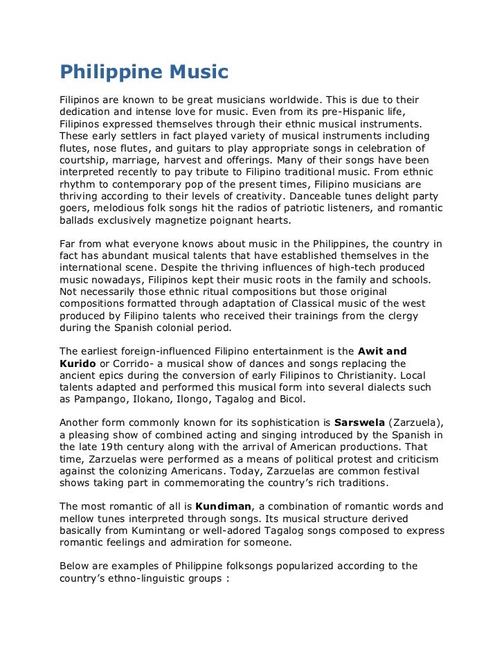 Philippine Music<br />Filipinos are known to be great musicians worldwide. This is due to their dedication and intense lov...