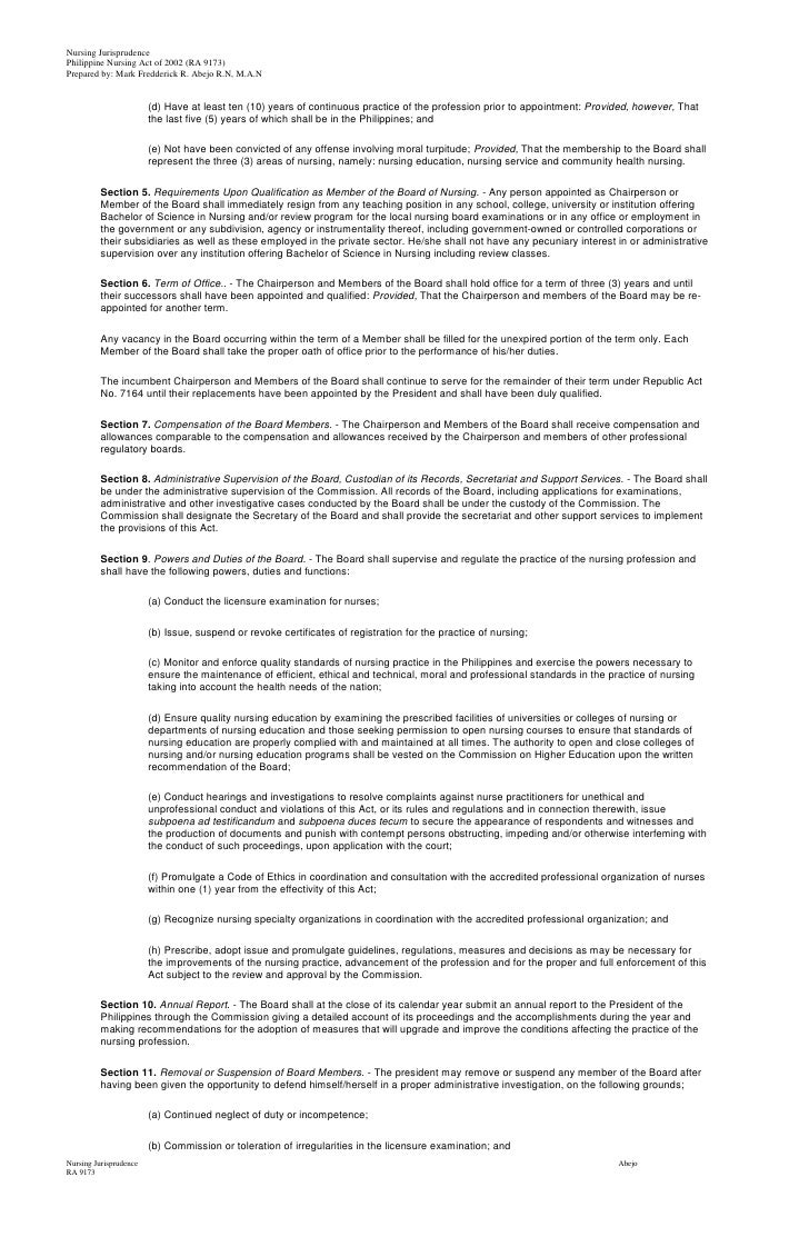 Philippine Nursing Act of 2002 ( R.A 9173)