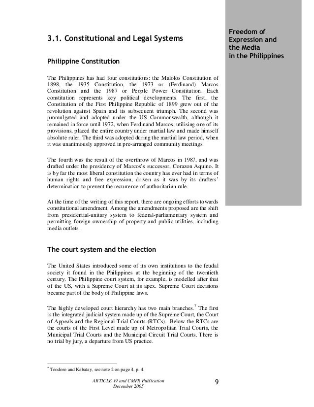 freedom of expression in the philippines essay The history of free speech go enter a year above  freedom in academia essay contest student spotlight register for fire's student summer conference today.