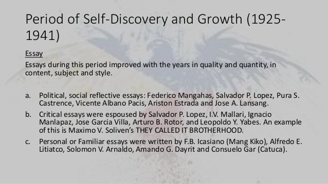 and philippine literature in english 26 period of self discovery