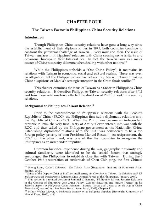International relations philippines and china on