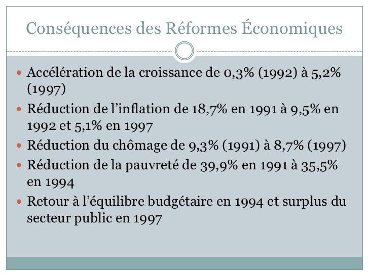 Conséquences des Réformes Économiques Accélération de la croissance de 0,3% (1992) à 5,2%    (1997)   Réduction de l'inf...