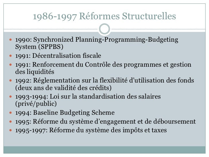 1986-1997 Réformes Structurelles 1990: Synchronized Planning-Programming-Budgeting    System (SPPBS)   1991: Décentralis...