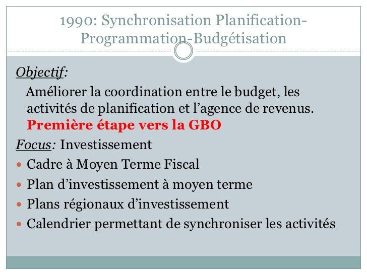 1990: Synchronisation Planification-          Programmation-BudgétisationObjectif:  Améliorer la coordination entre le bud...